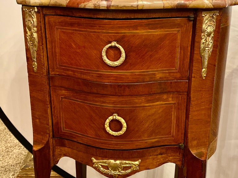 Pair of Louis XV Style Side / End Tables with Breche D'alep Original Marble Top For Sale 5