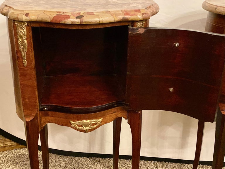 Pair of Louis XV Style Side / End Tables with Breche D'alep Original Marble Top For Sale 6