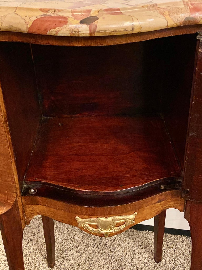 Pair of Louis XV Style Side / End Tables with Breche D'alep Original Marble Top For Sale 7