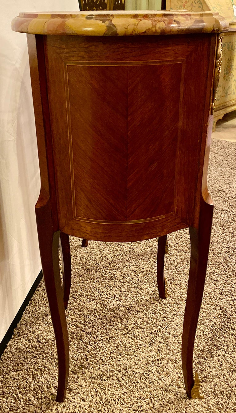 Pair of Louis XV Style Side / End Tables with Breche D'alep Original Marble Top For Sale 8