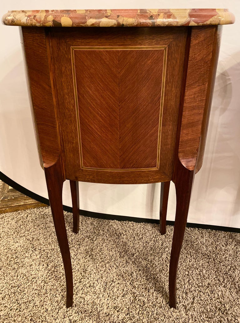 Pair of Louis XV Style Side / End Tables with Breche D'alep Original Marble Top For Sale 9