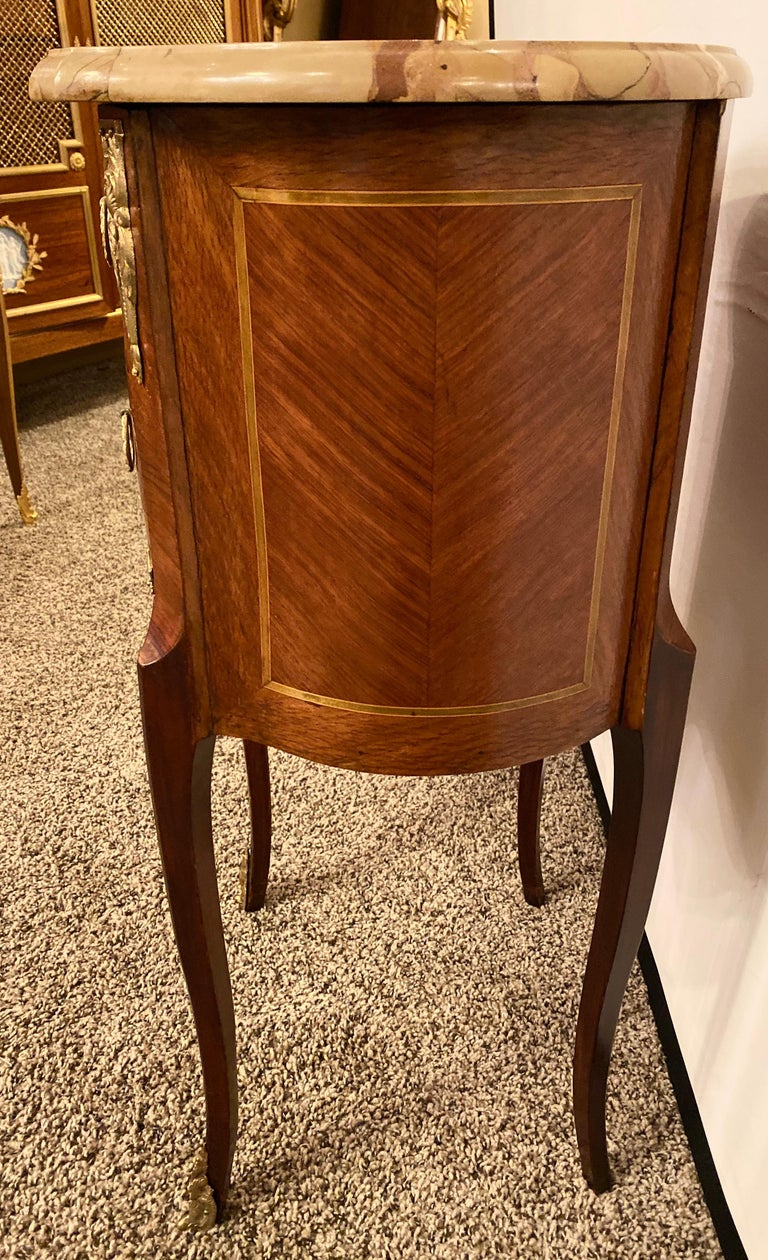 Pair of Louis XV Style Side / End Tables with Breche D'alep Original Marble Top For Sale 10