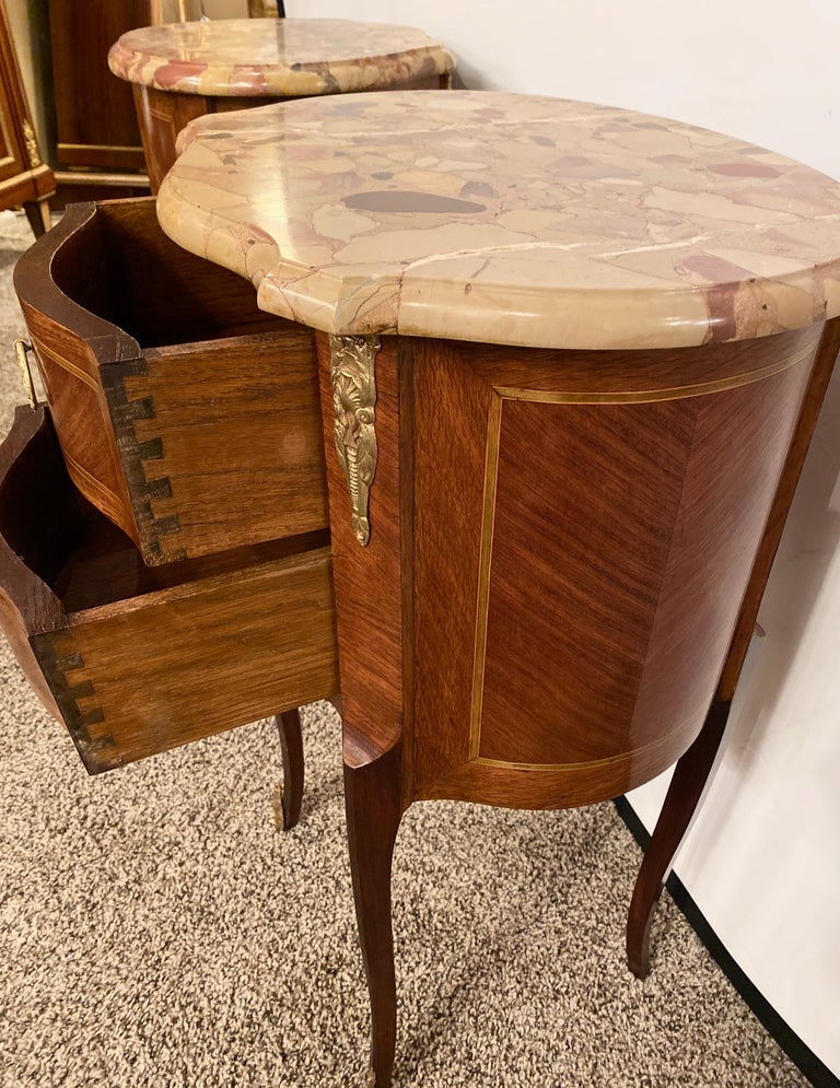 Pair of Louis XV Style Side / End Tables with Breche D'alep Original Marble Top For Sale 12