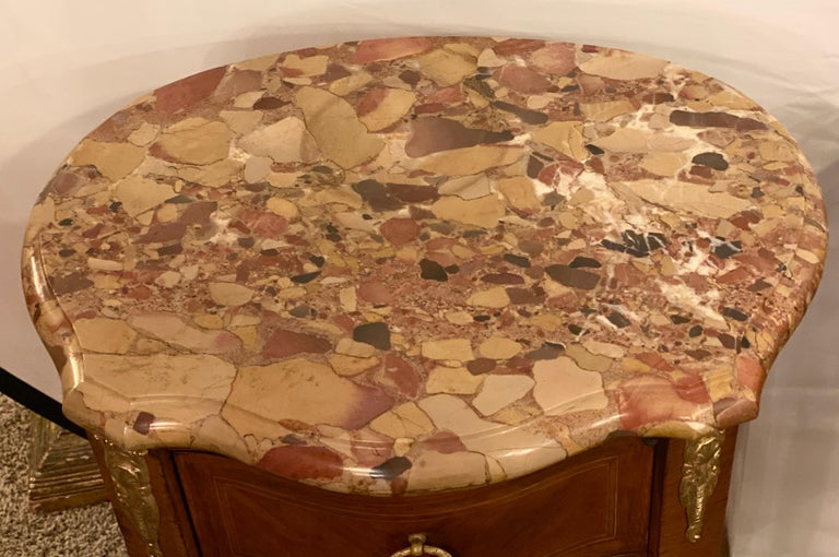 Pair of Louis XV Style Side / End Tables with Breche D'alep Original Marble Top For Sale 1