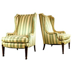 Pair of Louis XV Style Striped Wingback Chairs
