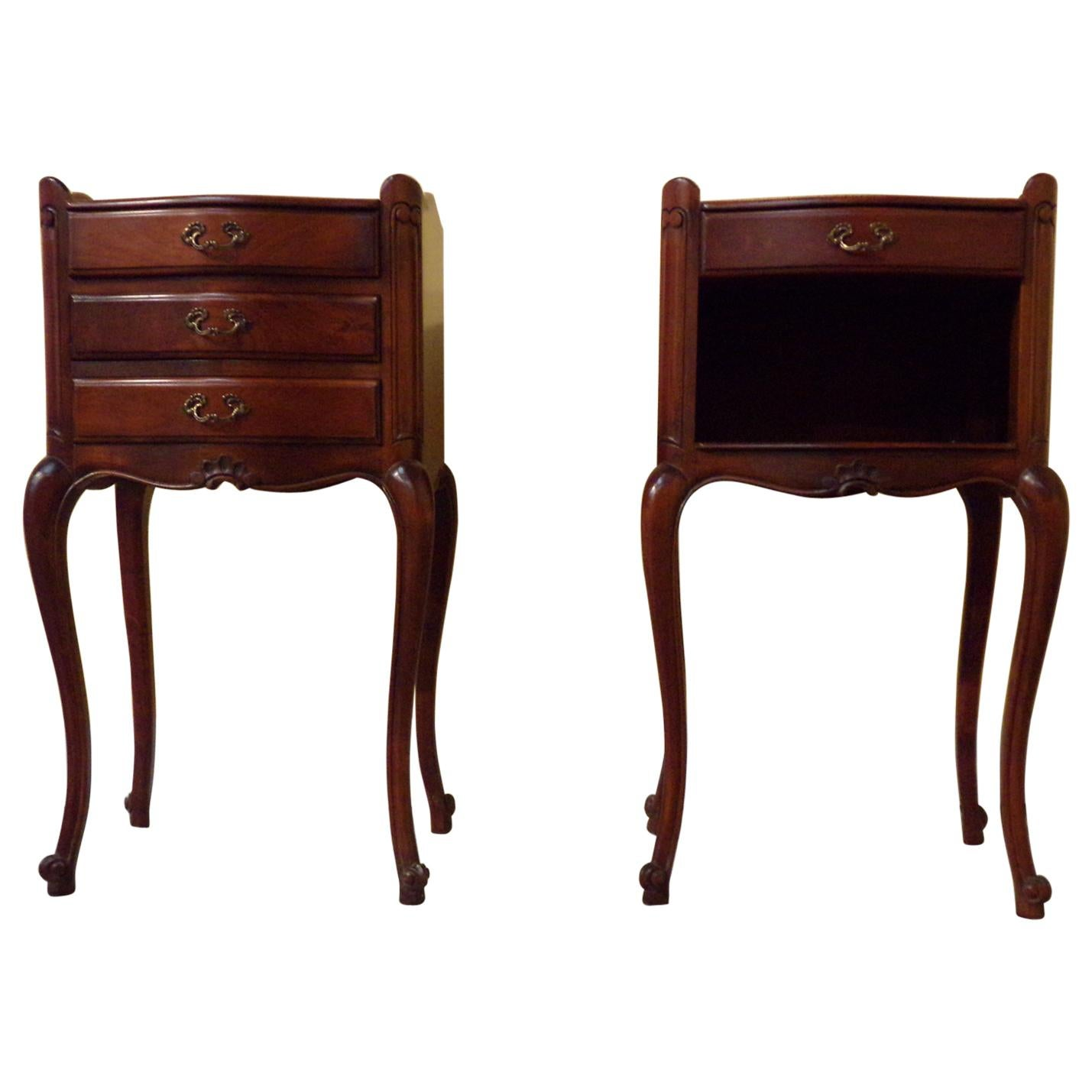 Pair of Louis XV Style Tray Top Bedside Cabinets