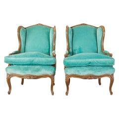 Pair of Louis XV Style Turquoise Velvet Wingback Bergères