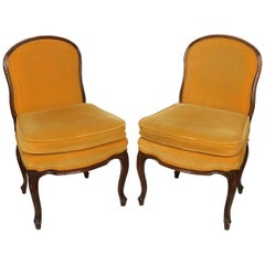 Pair of Louis XV Style Upholstered Slipper Chairs