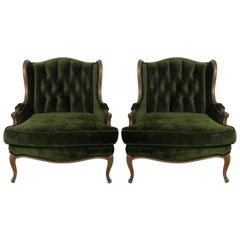 Pair of Louis XV Style Walnut and Green Velvet Wingback Bergères