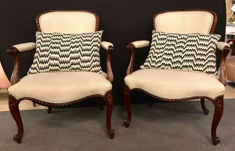 Pair of Louis XV Style Walnut Fauteuils or Bergères in a Scalamandre Fabric For Sale 15