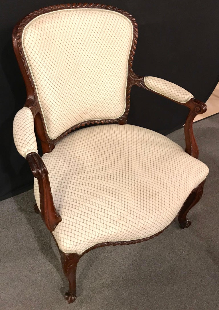 Pair of Louis XV Style Walnut Fauteuils or Bergères in a Scalamandre Fabric In Good Condition For Sale In Stamford, CT