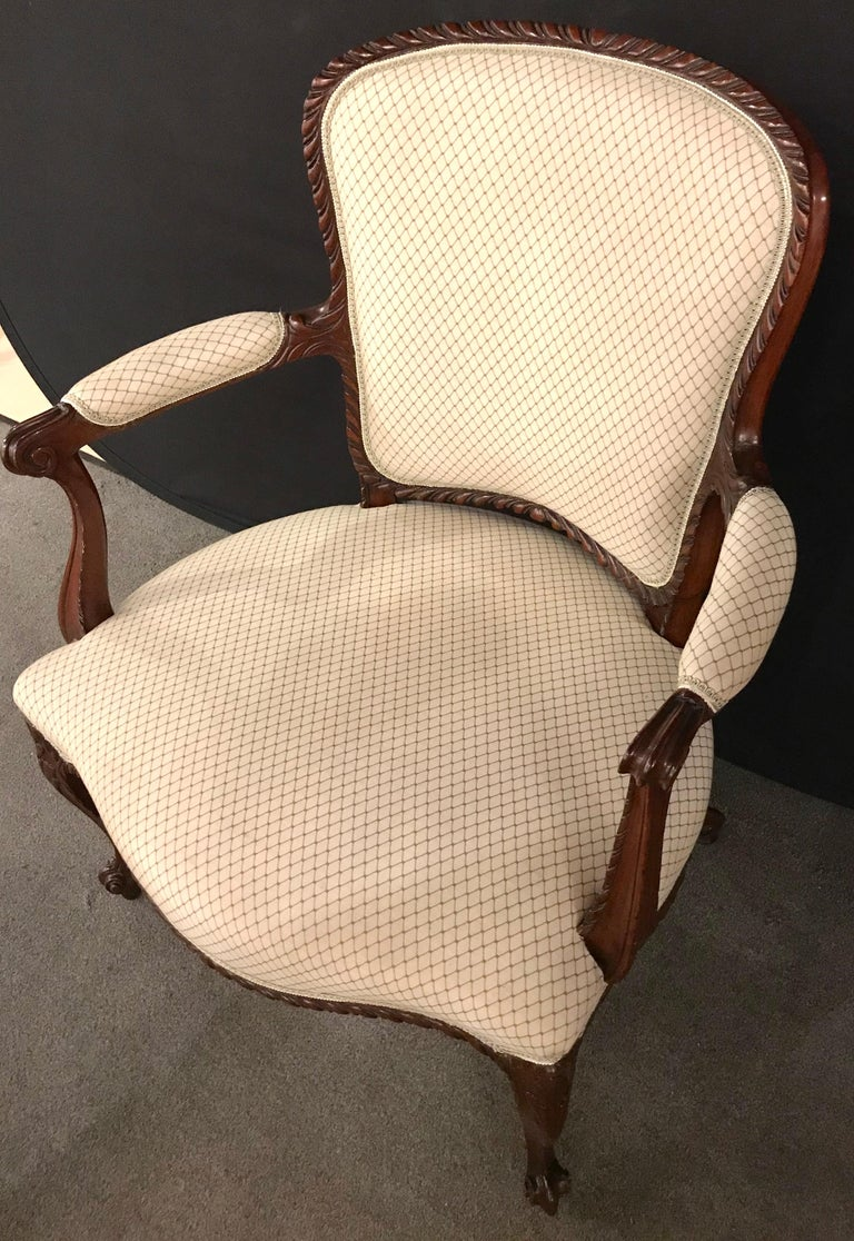 Mid-20th Century Pair of Louis XV Style Walnut Fauteuils or Bergères in a Scalamandre Fabric For Sale