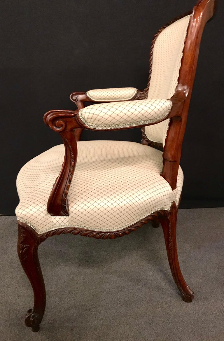 Pair of Louis XV Style Walnut Fauteuils or Bergères in a Scalamandre Fabric For Sale 1
