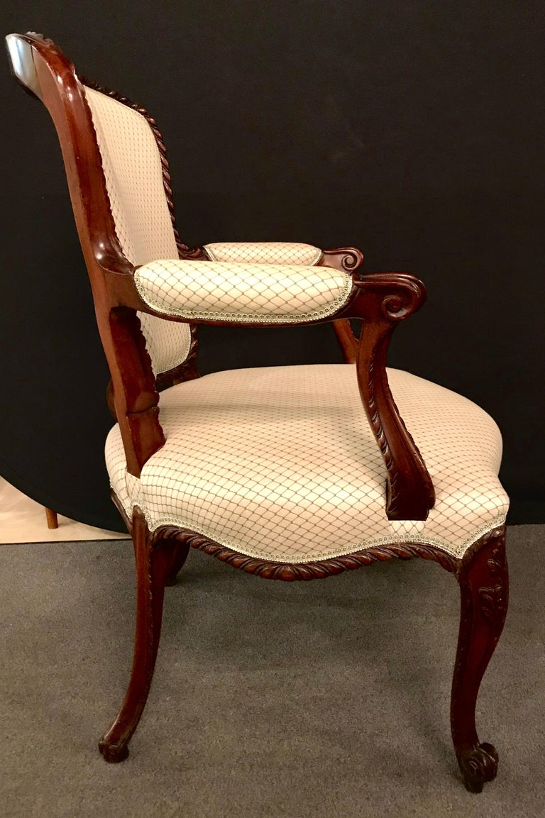 Pair of Louis XV Style Walnut Fauteuils or Bergères in a Scalamandre Fabric For Sale 2