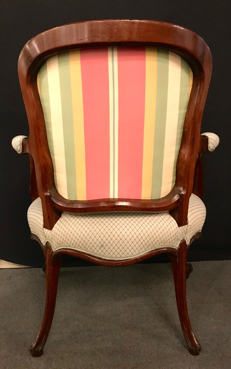 Pair of Louis XV Style Walnut Fauteuils or Bergères in a Scalamandre Fabric For Sale 3