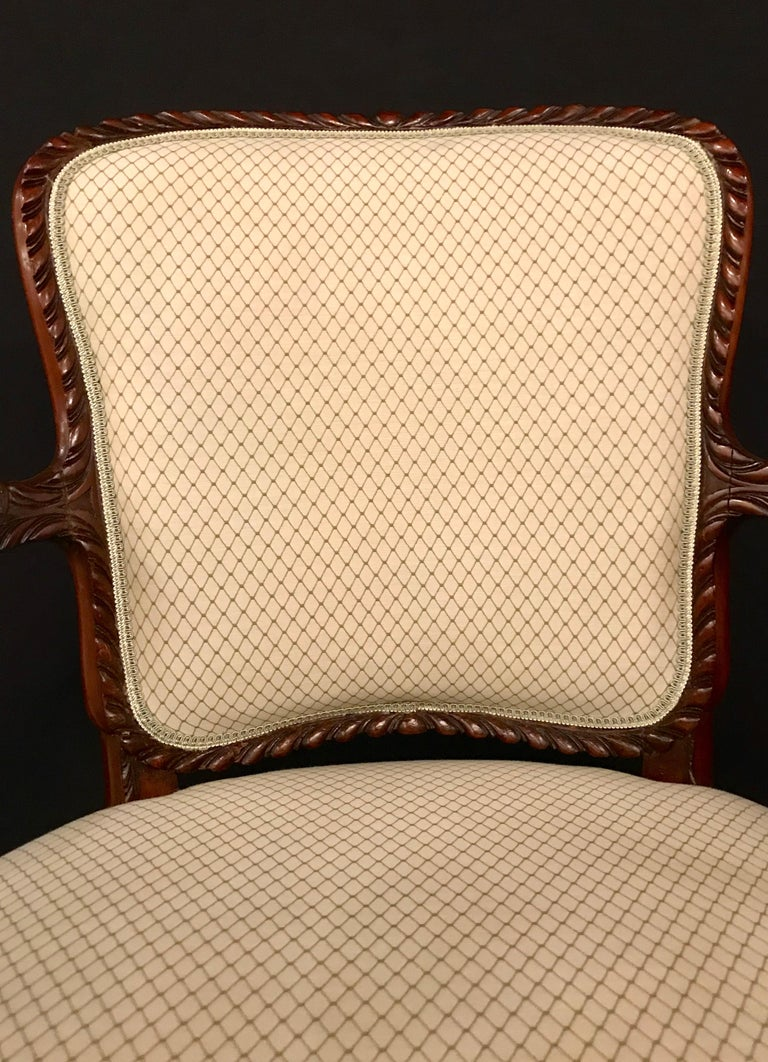 Pair of Louis XV Style Walnut Fauteuils or Bergères in a Scalamandre Fabric For Sale 4