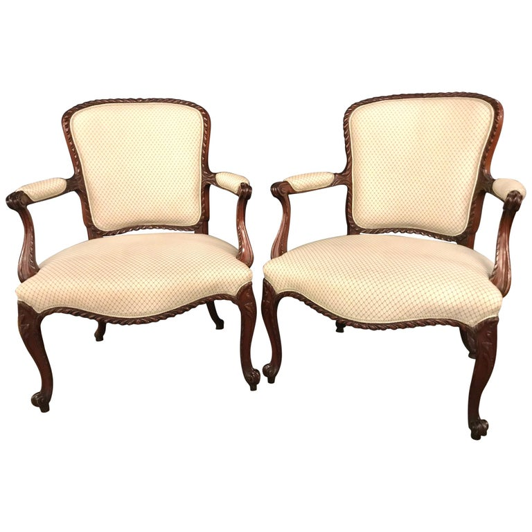 Pair of Louis XV Style Walnut Fauteuils or Bergères in a Scalamandre Fabric For Sale