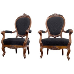 Pair of Louis XV Style Walnut Wood Armchairs