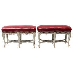 Pair of Louis XV Style White Painted Benches