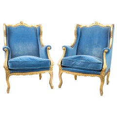 Pair of Louis XV Style Wingback Bergères in Giltwood, circa 1880