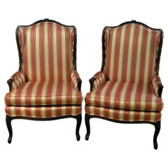 Pair of French Louis XV Style Wingback Fireside Chairs