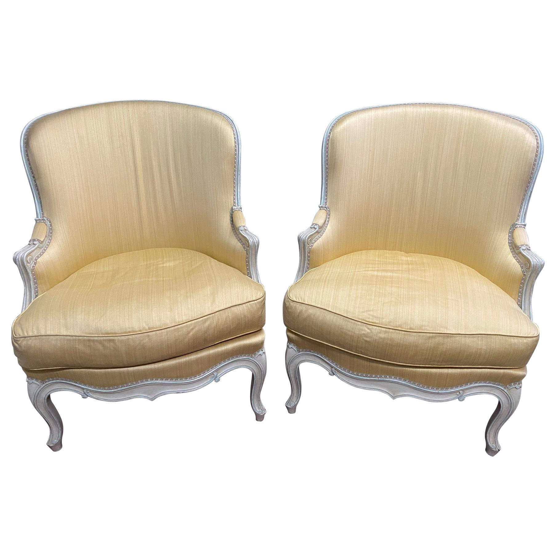Pair of Louis XV Style Yellow Upholstered Painted Wood Bergère Chairs