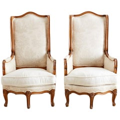Pair of Louis XV Toile Five-Leg Bergeres