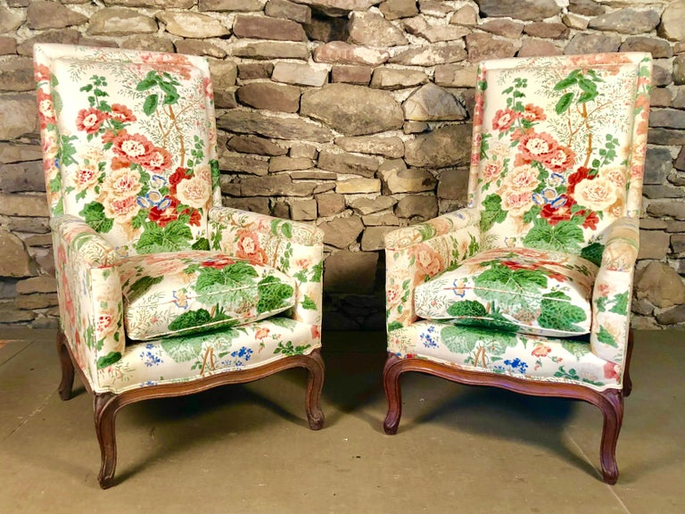 French Pair of Louis XV Upholstered Armchairs, 18th Century For Sale