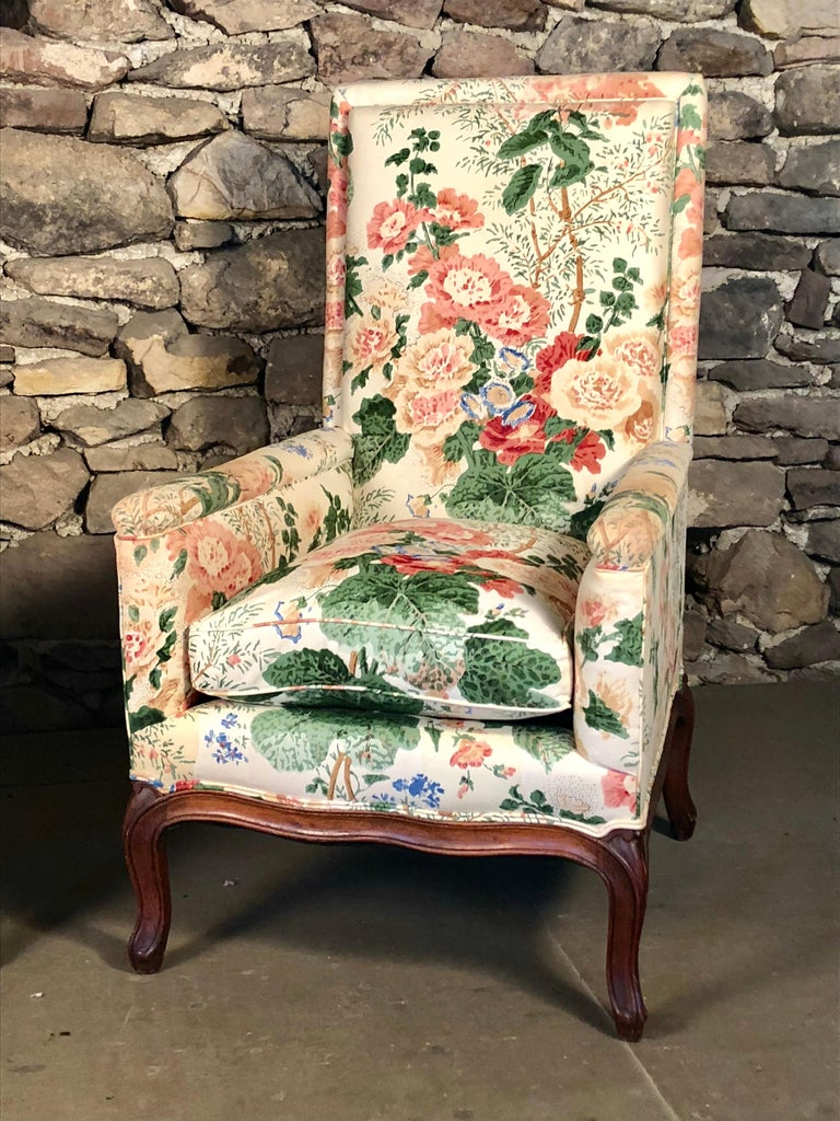 Hand-Carved Pair of Louis XV Upholstered Armchairs, 18th Century For Sale