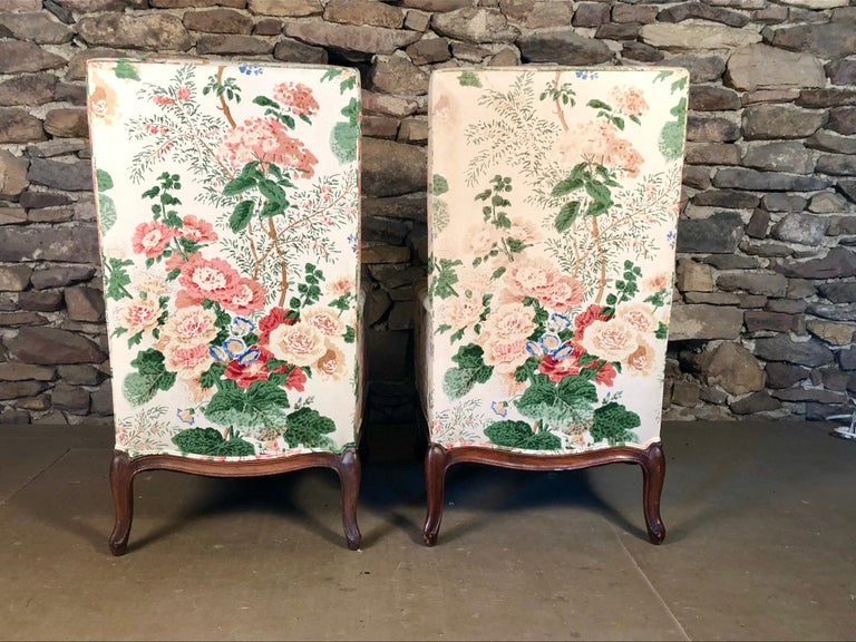 Cherry Pair of Louis XV Upholstered Armchairs, 18th Century For Sale