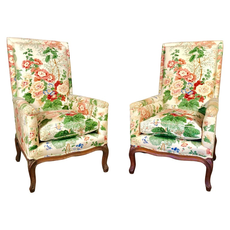 Pair of Louis XV Upholstered Armchairs, 18th Century For Sale