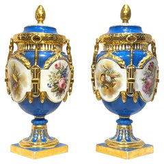 Pair of Louis XV/XVI Style Sevres Style Porcelain Vases with Covers