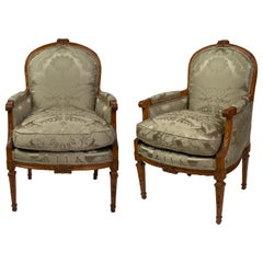 Pair of Louis XVI Beechwood Bergères