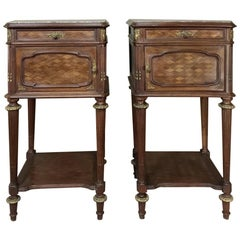 Pair of Louis XVI Bronze Mounted Mahogany Nightstands by Schmit of Paris