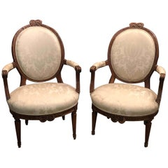Pair of Louis XVI Carved Bowknot Fauteuils