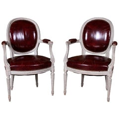 Pair of Louis XVI Fauteuil Distressed Paint with Leather