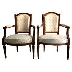 18th Century Pair of Louis XVI Fauteulis or Armchairs