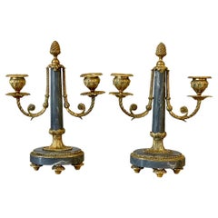 Pair of Louis XVI Gilt-Bronze and Marble Candelabra