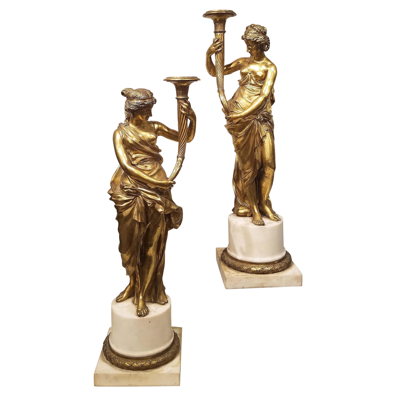 Pair of Louis XVI Gilt Bronze Candelabras