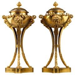 Pair of Louis XVI Gilt Bronze Cassolettes Attributed to Pierre Gouthière