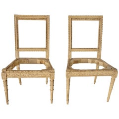 Pair of Louis XVI Italian Side Chairs, Stripped and Waxed Fruitwood, circa 1785