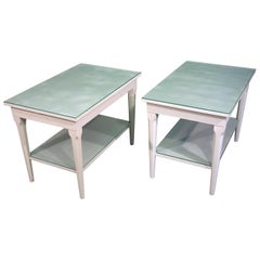 Pair of Louis XVI Jensen Style of White Painted Side Tables