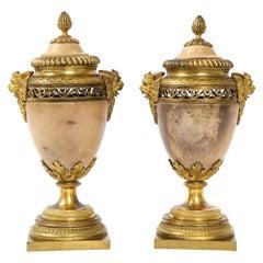 Pair of Louis XVI North European Neoclassical Ormolu and Marble Potpourris