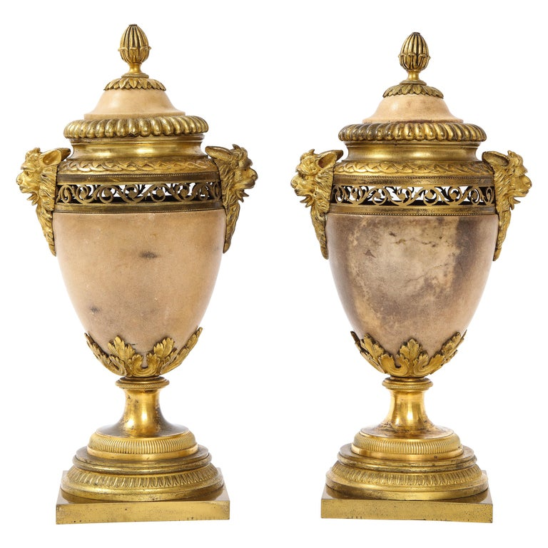 Pair of Louis XVI North European Neoclassical Ormolu and Marble Potpourris For Sale