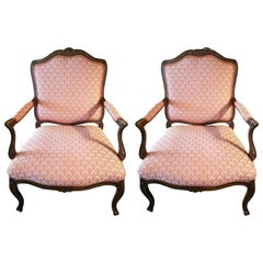 Pair of Louis XVI Oak and Upholstered Armchairs or Bergère, 20th Century