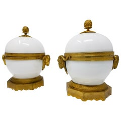 Pair of Louis XVI Ormolu Mounted White Porcelain and Dore Bronze Covered Bowls