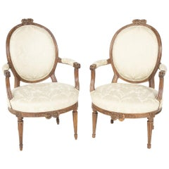 Pair of Louis XVI Oval Back Fauteuil