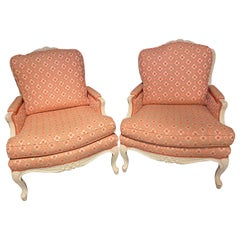 Pair of Louis XVI Painted Bergère or Lounge Chairs, Scalamandre Upholstery