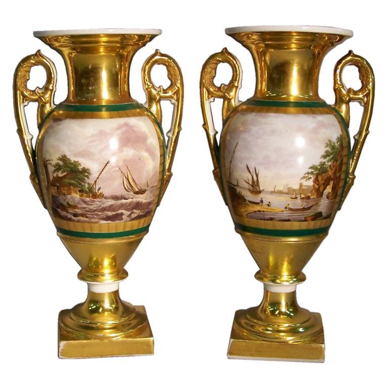 Pair of Louis XVI Paris Porcelain Urns with Landscapes, circa 1780