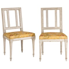Pair of Louis XVI Period Chairs in Their Original Decoration, Reupholstered